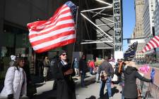 A small group of supporters of former President Donald Trump hold a rally in front of Trump Tower on 8 March 2021 in New York City. Trump, who has recently moved his official residency to Florida from New York, was back in Manhattan for a few days. Picture: Spencer Platt/Getty Images/AFP