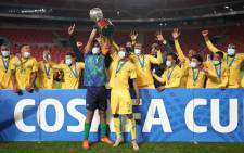 Bafana Bafana were crowned the 2021 Cosafa Cup champions after they beat Senegal in a penalty shootout on 18 July 2021. Picture: @COSAFAMEDIA/Twitter.