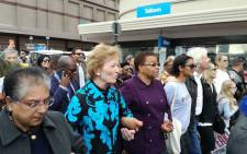Graca Machel, former Ireland President Mary Robinson, Sir Richard Branson on the walk to the Cape Town Convention Centre on Mandela Day. Picture: Xolani Koyana/EWN.