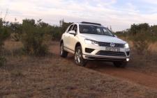 The new VW Touareg rolling through some tough terrain.