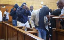 FILE: Titus Mabela, Jason Segole and Puleng Sebetwa in court during their bail application for allegedly killing Khulekani Mpanza. Picture: Christa Eybers/EWN.