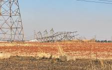 A pylon that collapsed in Nigel causing a power outage in the community in June 2021. Picture: Supplied