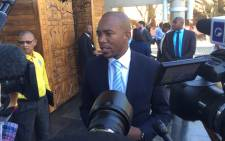 DA leader Mmusi Maimane speaks to the media at the Constitutional Court after the judgment on the Nkandla matter. Picture: Vumani Mkhize/EWN.