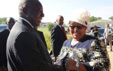 Northern Cape Premier Sylvia Lucas (right) greets President Cyril Ramaphosa on his arrival at Mittah Seperepere Convention Centre ahead of the Armed Forces Inter-Faith service in Kimberley on 18 February 2019. Picture: @GovernmentZA/Twitter