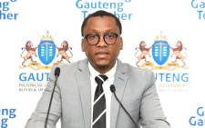 FILE: Former Gauteng Health MEC Dr Bandile Masuku addressing the media in Johannesburg during a press briefing on 17 July 2020 by the provincial command council on its response to the COVID-19 pandemic. Picture: @GautengProvince/Twitter