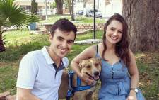 Marília Matheus with her husband Matheus Gomes Martins and their dog, Snoop, who crashed their wedding. Picture: facebook.com