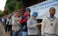 Voters line up outside the Northcliff Primary School in Johannesburg. Picture: Abigail Clark/iWitness