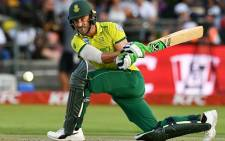 Proteas skipper Faf du Plessis hammers the ball away during the Twenty20 International match against Pakistan at Newlands, Cape Town on 1 February 2019. Picture: @OfficialCSA/Twitter