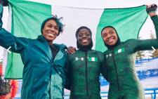 Nigeria's bobsled team: Seun Adigun, Ngozi Onwumere and Akuoma Omeoga. Picture: bsfnigeria/Instagram