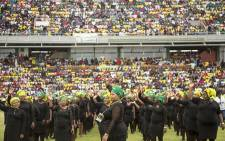 Women of the ANC dressed in black and ANC doeks. Picture: Sethembiso Zulu/EWN.
