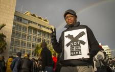 SABC journalist Lukhanyo Calata was among the members of the media protesting outside the public broadcaster's offices in Sea Point on 1 July 2016. Picture: Aletta Harrison/EWN