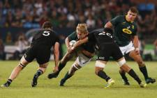 South Africa's lock Pieter-Steph du Toit vies for the ball during the Rugby Championship match between South Africa and New Zealand at the Loftus Versfeld stadium in Pretoria, South Africa, on 6 October 2018. Picture: AFP