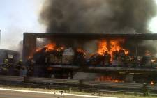 FILE PICTURE: A truck on fire in Boksburg. Picture: Supplied