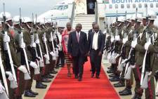 President Cyril Ramaphosa arrives at eSwatini for a working visit with King Mswati III. Picture: @PresidencyZA /Twitter