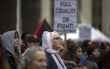 Women rally during the International Women's Day March and Rally on 5 March 2017. Picture: AFP.