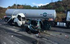 Several cars were involved in a massive accident after truck lost control and crashed into other cars on the N12 East at Voortrekker in Alberton on 14 October 2014. Picture: EWN Traffic.