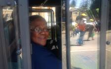 Transport Minister Dipuo Peters rides a bus at the official opening of EcoMobility Month in Sandton on 4 October 2015. Picture: Mia Lindeque/EWN.