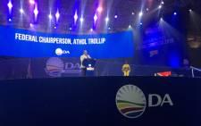 Nelson Mandela Bay mayor Athol Trollip addressing delegates at the DA's elective congress in Pretoria. Picture: @Our_DA/Twitter.