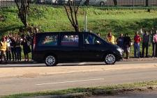 A hearse carrying the body of former president Nelson Mandela being transported to the Union Buildings for the second day of public viewing on 12 December 2013. Picture: Barry Bateman/EWN.