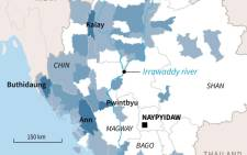 Map locating areas most affected by flash floods and landslides in Myanmar.