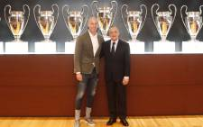 President of Real Madrid Florentino Pérez Rodríguez welcomes Zinedine Zidane, who has returned as coach of the club following Santiago Solari's departure. Picture: @RealMadrid/Facebook.com.