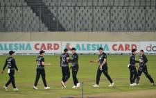 New Zealand's players celebrate after winning the third Twenty20 international cricket match between Bangladesh and New Zealand at the Sher-e-Bangla National Cricket Stadium in Dhaka on September 5, 2021. Picture: Munir Uz zaman / AFP.