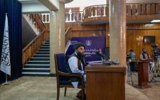 Zabihullah Mujahid, Chief spokesperso for the Taliban, speaks during a press conference with the members of the media in Kabul on September 21, 2021.