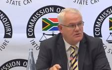 A screengrab shows former KZN Hawks head Johan Booysen giving testimony at the state capture inquiry on 2 May 2019.
