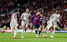 Barcelona's Lionel Messi takes the game to his Liverpool opponents during their UEFA Champions League match in Barcelona on 1 May 2019. Picture: @FCBarcelona/Twitter