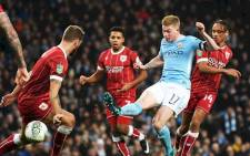 Manchester City's Kevin De Bruyne (in blue) has a shot at goal. Picture: Picture: @ManCity/Twitter