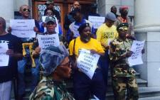 Umkhonto weSizwe Military Veterans Association members protest at the Western Cape High Court ahead of Janusz Walus' parole appeal on 12 April 2016. Picture: Siyabonga Sesant/EWN.