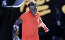 Spain's Rafael Nadal celebrates after winning against Serbia's Laslo Djere during their men's singles match on day two of the Australian Open tennis tournament in Melbourne on 9 February 2021. Picture: David Gray/AFP