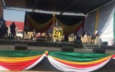 IPF Gauteng chairperson Bonginkosi Dhlamini addressing the crowd. Picture: Masa Kekana/EWN.