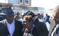 Police Minister Bheki Cele interacts with the residents of Lavender Hill during a visit in the Cape Town area. Picture: Kaylynn Palm/EWN.
