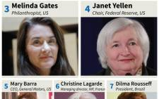 Graphic on the 10 most powerful women in the world, based on 2015 rankings by 'Forbes' magazine.