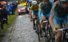 FILE:Italian Vincenzo Nibali (yellow jersey) hard at work in the peloton during Stage 5 of the 2014 Tour de France. Picture: Official Tour de France Facebook.