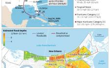 Graphic on Hurricane Katrina, which ravaged the US Gulf Coast on 29 August 2005 and left more than 1,800 people dead, most of them in New Orleans.