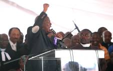 Julius Malema addresses mourners at a memorial service for the victims of the Lonmin Marikana shooting. Picture: Taurai Maduna/EWN.