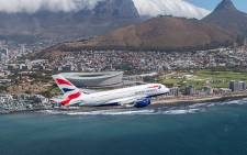 A British Airways' A380 flying over Cape Town. Picture: Supplied.