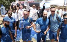 The Proteas yesterday pledged their support to Operation Hydrate with each member of the team donating bottles of water to the cause. Picture: Mutiny Media