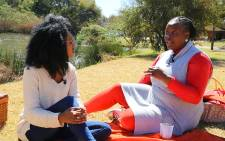 Masa Kekana (left) interviews DA spokesperson Refiloe Ntsekhe (right) about her life in politics. Christa Eybers/EWN