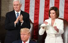 Speaker of the US House of Representatives Nancy Pelosi rips a copy of US President Donald Trump's speech after he delivered the State of the Union address at the US Capitol in Washington, DC, on 4 February 2020. Picture: AFP