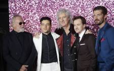 (L-R) British musician, and drummer of the rock band Queen, Roger Taylor, US actor Rami Malek, British musician, and lead guitarist of the rock band Queen, Brian May, US actor Joe Mazzello and British actor Gwilym Lee pose on the red carpet arriving for the world premiere of the film 'Bohemian Rhapsody' at Wembley Arena in north London on 23 October 2018. Picture: AFP