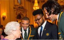 Queen Elizabeth II with South Africa's Bryan Habana, Australia's Henry Speight and South Africa's Victor Matfield at a Rugby World Cup reception at Buckingham Palace on 12 October 2015 in London. Picture: Instagram Victor Matfield