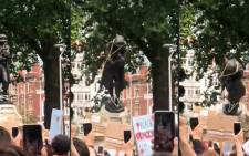 A combination image taken from a 7 June 2020, video courtesy of William Want (@willwantwrites) via Twitter, shows protesters pulling down a statue of slave trader Edward Colston in Bristol, south-west England, during a demonstration organised to show solidarity with the Black Lives Matter movement in the wake of the killing of George Floyd, an unarmed black man who died after a police officer knelt on his neck in Minneapolis. Picture: AFP