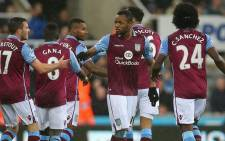FILE. Aston Villa players celebrate the goal scored by Jordan Ayew in the match against Newcastle United on 19 December. Picture:Official Aston Villa Facebook page.