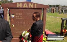 FILE: Chris Hani's wife Limpho Hani lays a wreath at her late husband's grave site in Boksburg on 10 April 2015. Picture: Govan Whittles/EWN