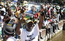 Supporters of ANC secretary-general Ace Magashule gathered outside the Bloemfontein Magistrates Court as he appeared for his fraud, corruption and money laundering case on 19 February 2021. Picture: Xanderleigh Dookey-Makhaza/Eyewitness News.