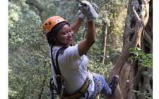 Refilwe Pitjeng goes zip-lining. Picture: Twitter/@TourismKZN