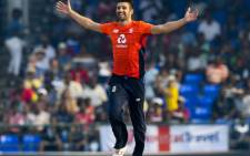 Mark Wood of England celebrates the dismissal of Carlos Brathwaite of West Indies during the 3rd and final T20I between West Indies and England at Warner Park, Basseterre, Saint Kitts and Nevis, on 10 March 2019. Picture: AFP